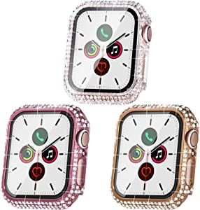 Fullife Compatible with Apple Watch Case, Bling Cases Replacement for Apple Watch 38mm 40mm 42mm 44mm Protective Bumper for Apple Watch Series 6 5 4 3 2 1 SE (44mm, 3 Packs - Rose Gold/Pink/Clear