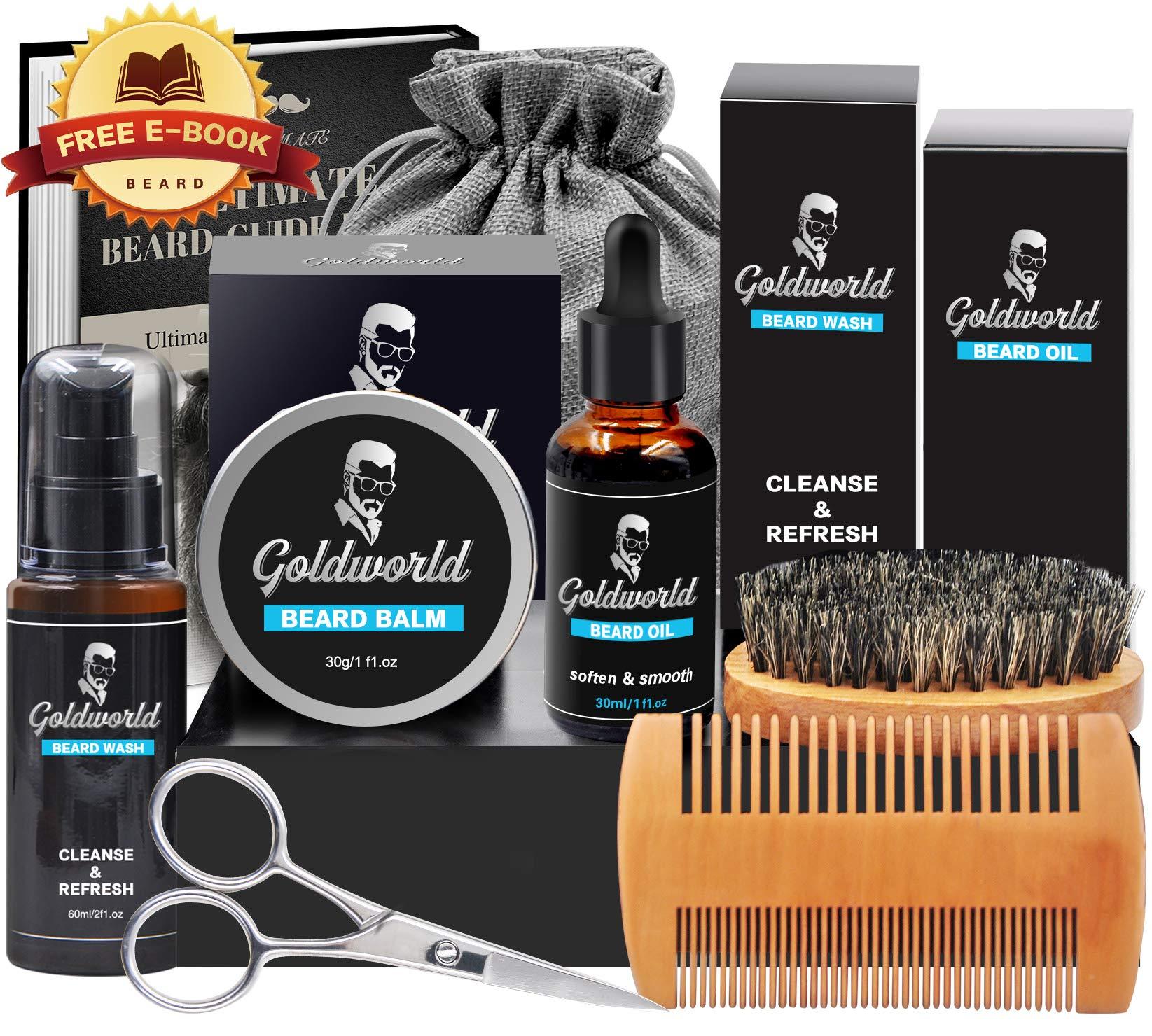 Beard Care & Grooming Kit w/Free Beard Wash/Shampoo, w