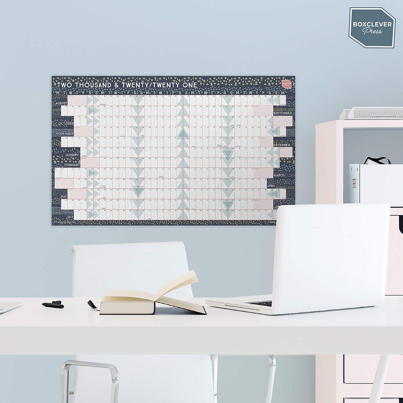 Calendario 2021 de Boxclever Press 70 x 43 cm Calendario ideal para planificaci/ón profesional o familia formato bloques Calendario 2021 pared enero-dic/'21 Sin laminar con Festivos del Reino Unido