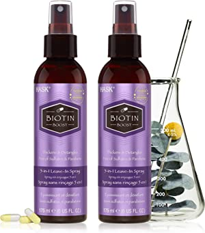 HASK Thickening BIOTIN 5-in-1 Leave In Conditioner Spray for all hair types, color safe, gluten free, sulfate free, paraben free - BIOTIN 2 PIECE SET