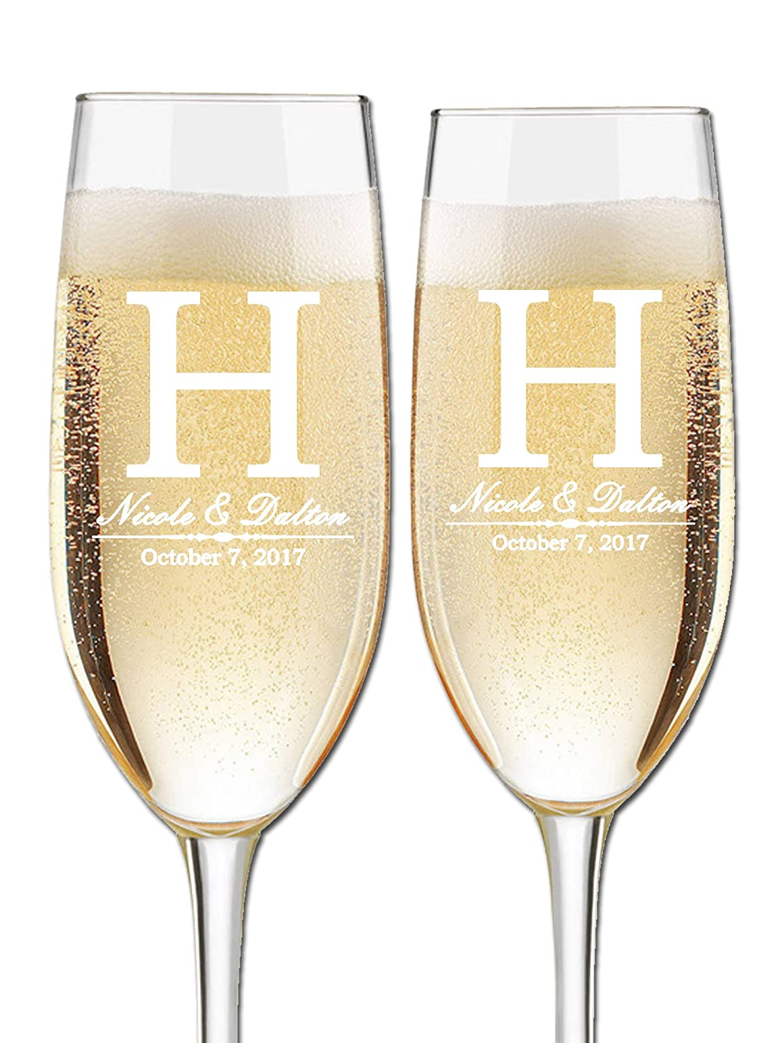 Custom Wedding Champagne Flutes- Set of 2 –Bride and Groom First Names, Last Name Initial Monogram and Wedding Date – Personalized for Bride and Groom - Customized Engraved Wedding Gift Etch Workz