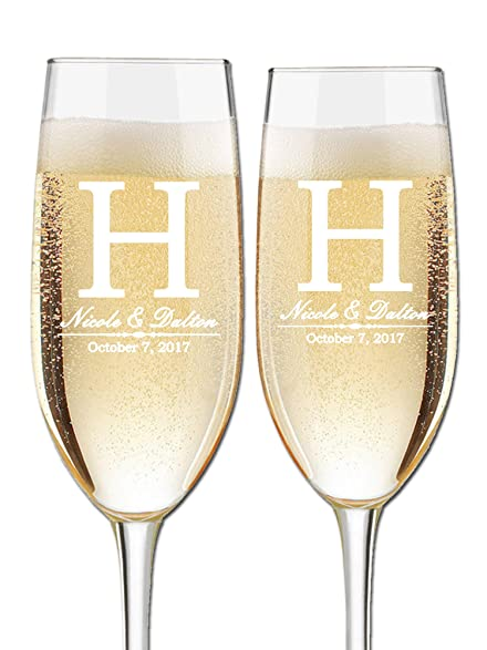 Custom Wedding Champagne Flutes Set Of 2 Bride And Groom First Names Last