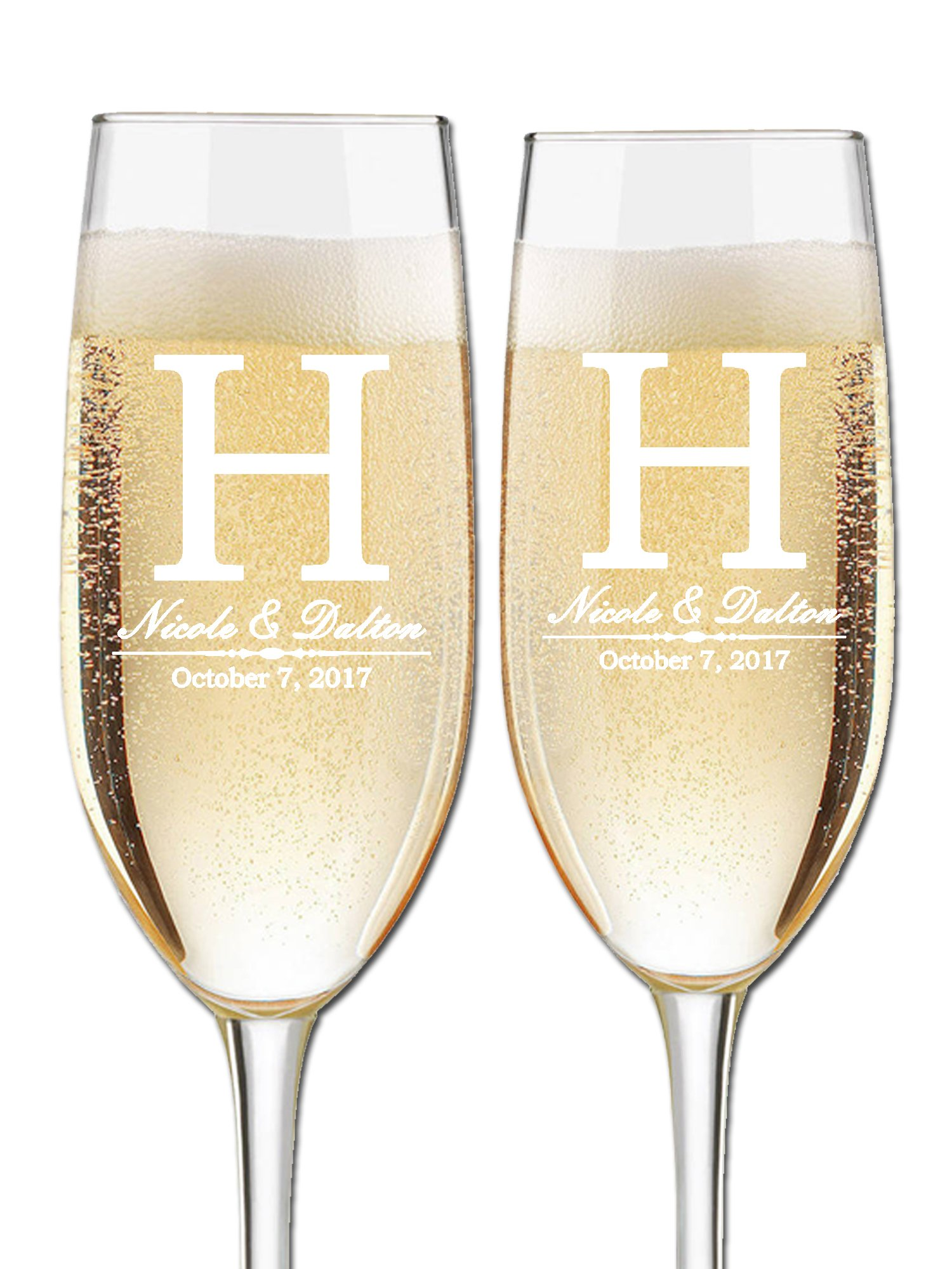 Custom Wedding Champagne Flutes- Set of 2 –Bride and Groom First Names, Last Name Initial Monogram and Wedding Date – Personalized for Bride and Groom - Customized Engraved Wedding Gift