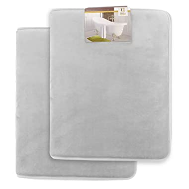 Clara Clark Memory Foam Bath Mat, Ultra Soft Non Slip and Absorbent Bathroom Rug. – Silver, Set of 2 Small Size
