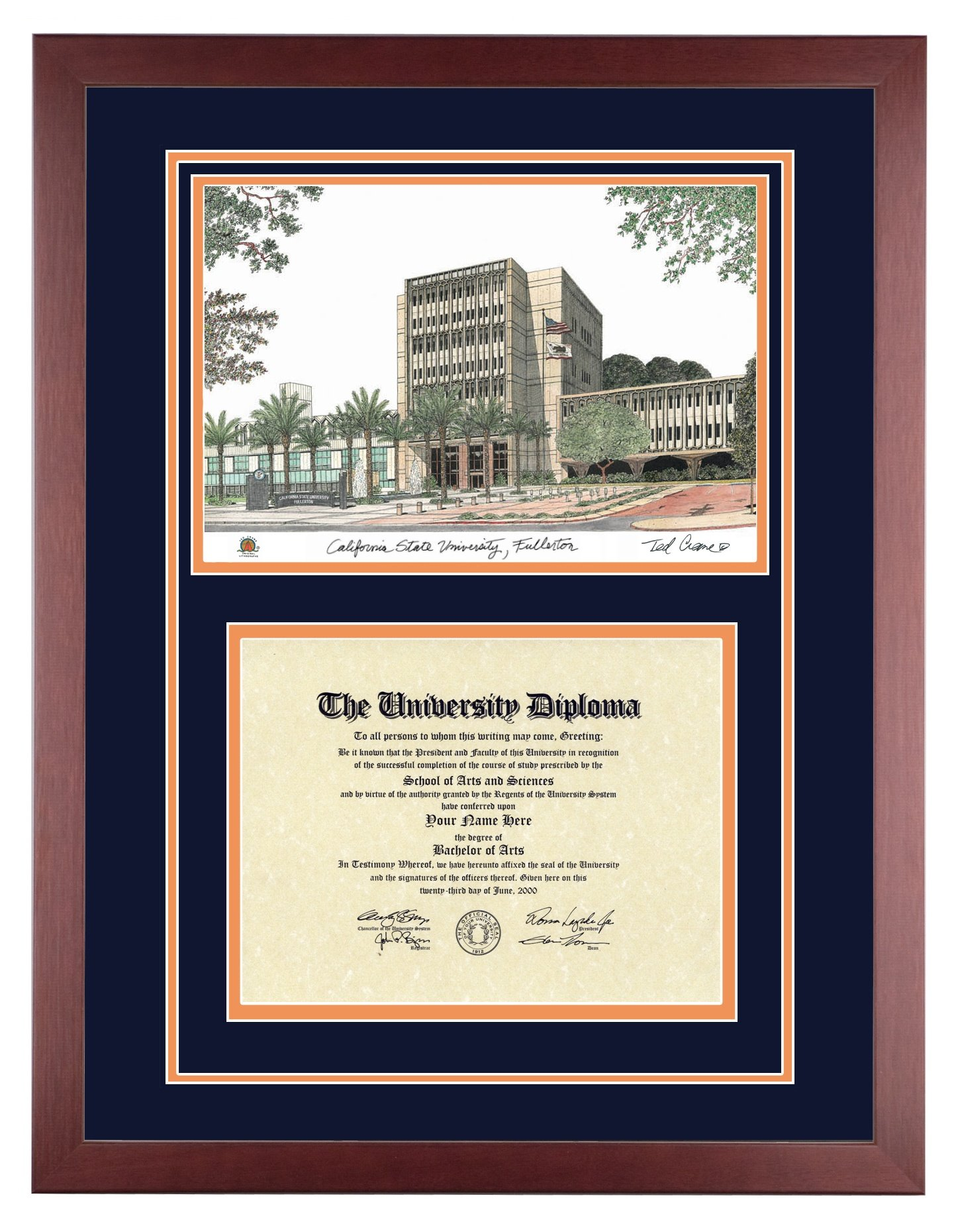 CAL STATE FULLERTON Diploma Frame with Artwork in Standard Mahogany Frame