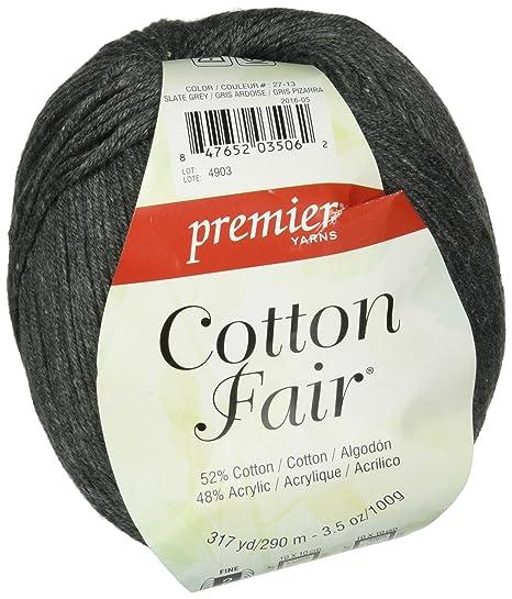 Premier Yarns Cotton Fair Solid Yarn, Slate Grey