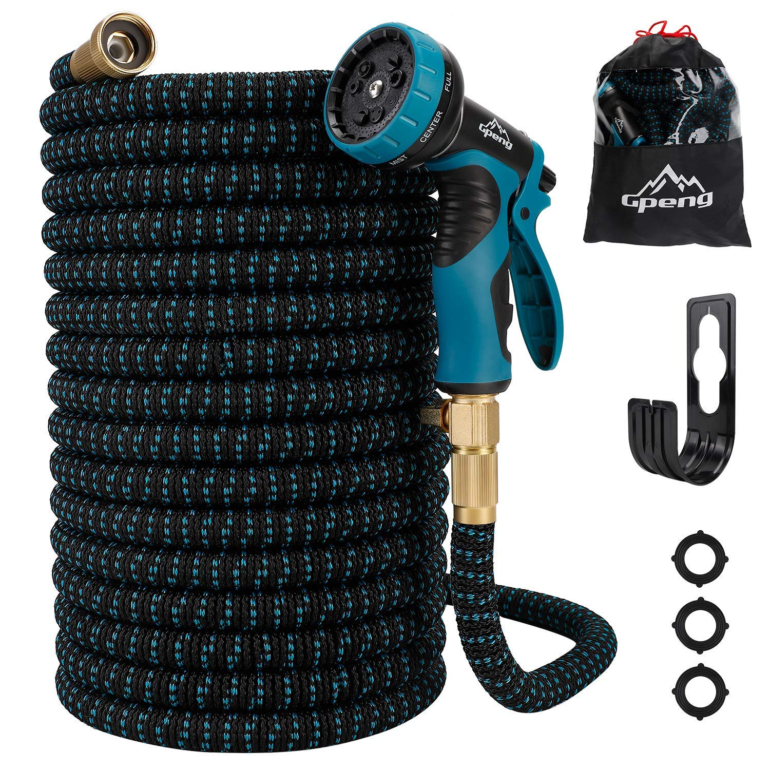 """Gpeng Expandable Garden Hose 50ft/100ft [Upgraded 2019], Lightweight Expanding Garden Water Hose with 3/4"""" Solid Brass Fittings, 9 Function Spray Nozzle"""