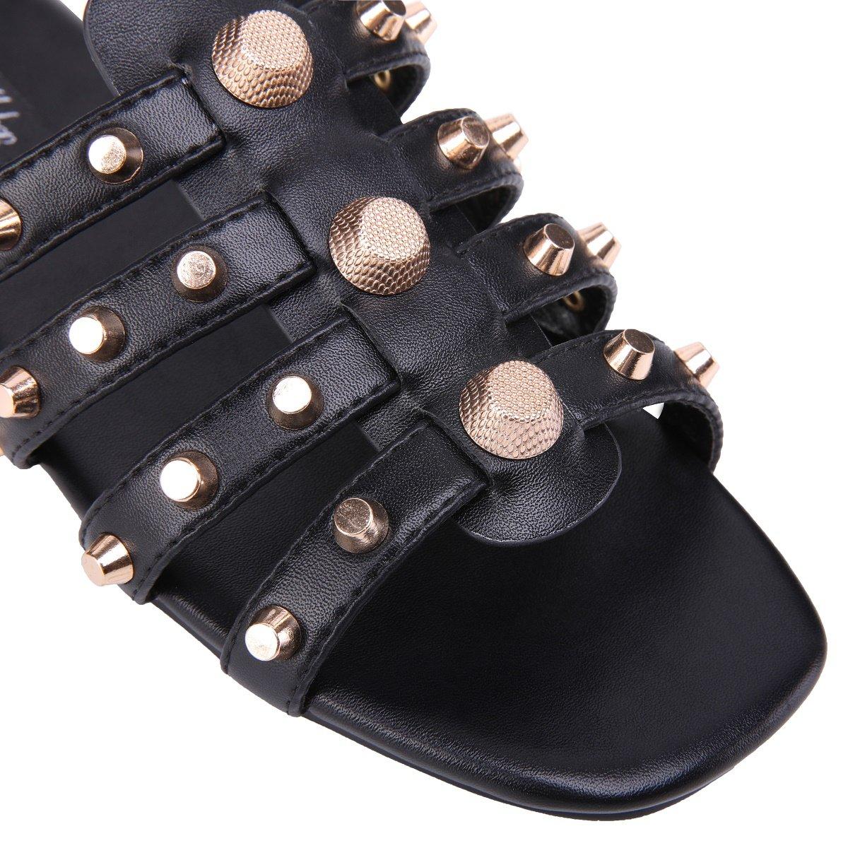 onlymaker Women's Gold Metal Studded Slide Sandals Open Toe Cut Out Slip on Flat Dress Slipper Shoes B07FLFJRBC 11 B(M) US|Black Gold