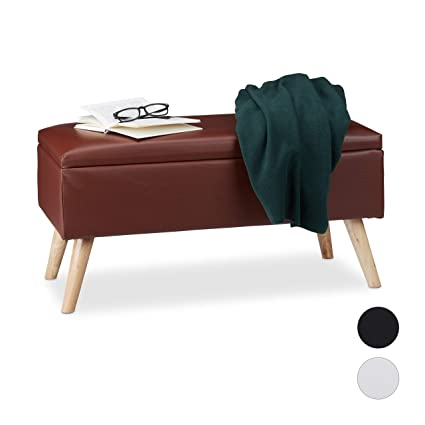 Strange Relaxdays Hallway Storage Bench 40L Padded Faux Leather Ncnpc Chair Design For Home Ncnpcorg