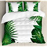 Ambesonne Leaf Duvet Cover Set, Exotic Fantasy Hawaiian Tropical Palm Leaves with Floral Graphic Artwork Print…