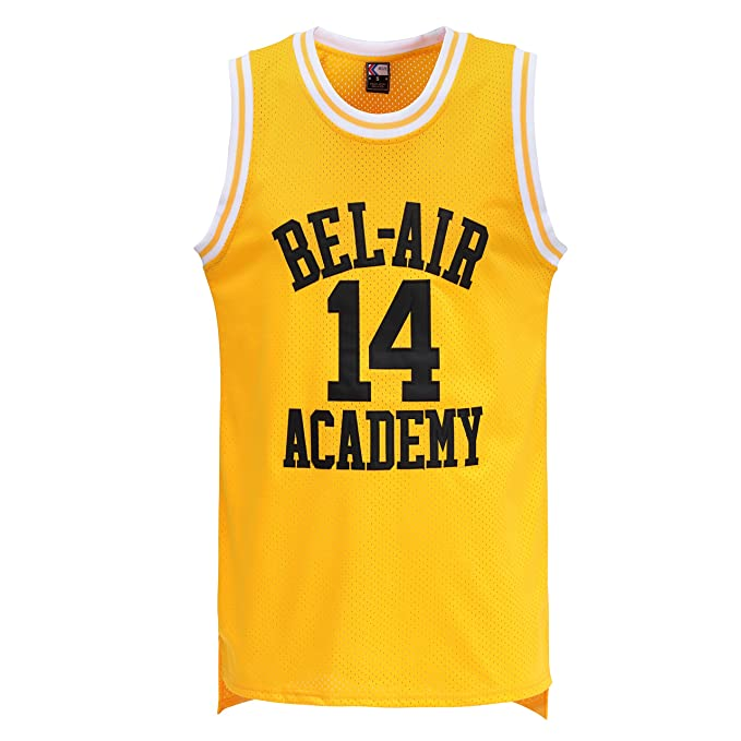 40f080713 MOLPE Will Smith  14 Bel Air Academy Yellow Basketball Jersey S-XXXL ...