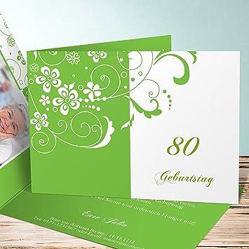 Einladung 80er Party Geburtstag, Blütenkarte Mit Foto 80 25 Karten,  Horizontale Klappkarte 148x105 Inkl