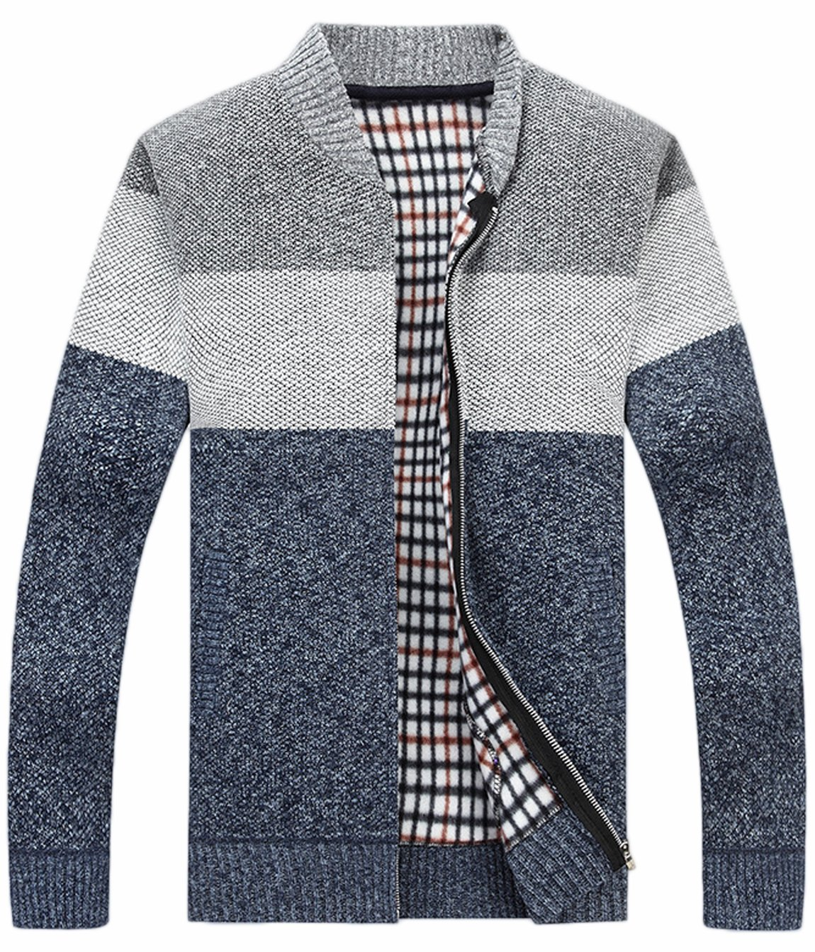 HOW'ON Men's Casual Wide Stripes Zipper Knitted Cardigan Sweater Light Grey L