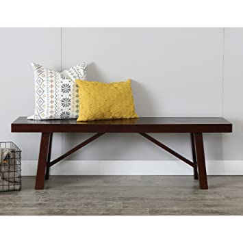 WE Furniture 60u0026quot; Solid Wood Trestle Dining Bench   Espresso, ...
