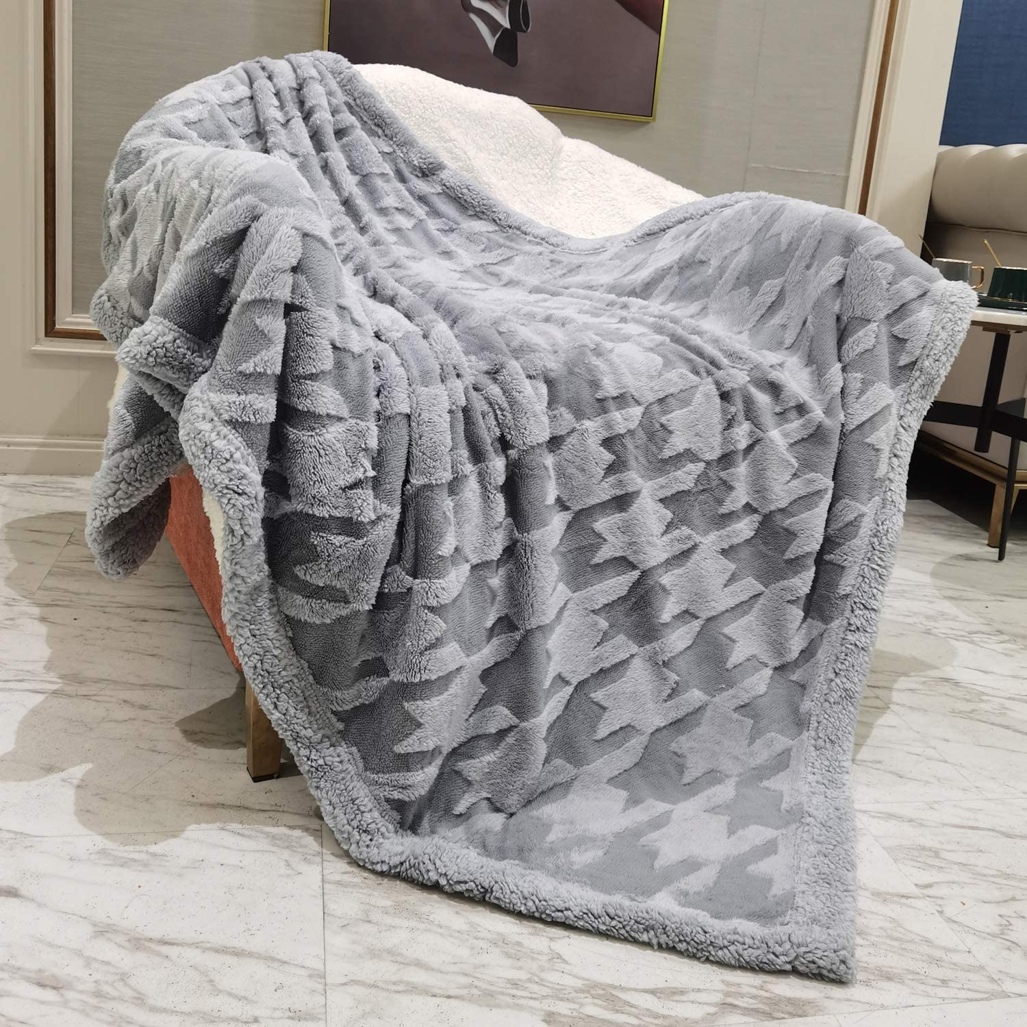 "DISSA Sherpa Fleece Blanket Throw Blanket Soft Blanket Plush Fluffy Blanket Warm Cozy Dual Sided Throw Blanket Perfect Throw for All Seasons for Couch Bed Sofa (Light Grey, 51""x63""): Home & Kitchen"