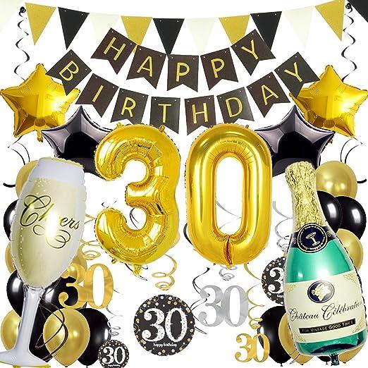 ZERODECO Decoración de cumpleaños, negro y dorado, con ...