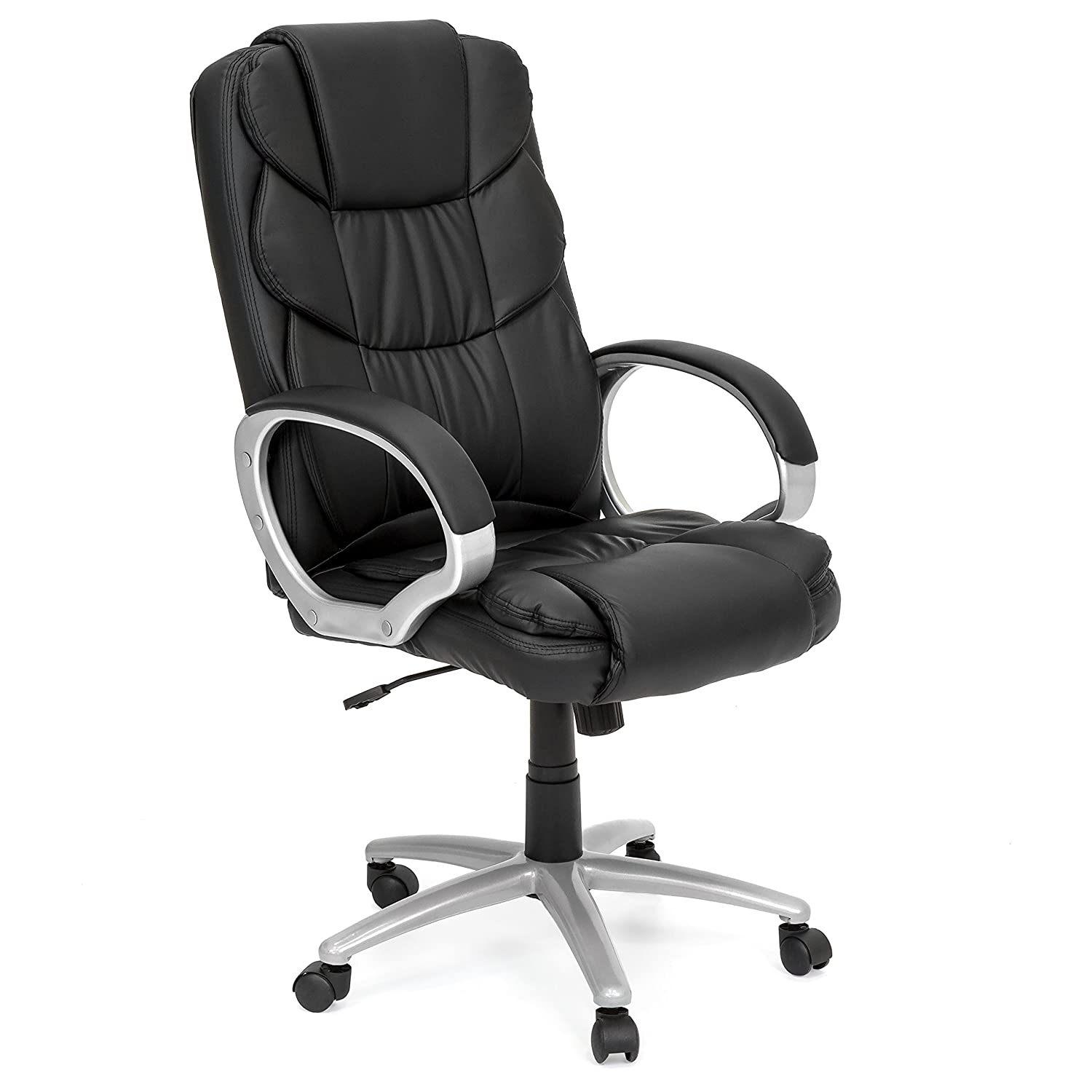 Amazon com best choice products faux leather ergonomic high back executive office chair w rolling base adjustable height black home kitchen