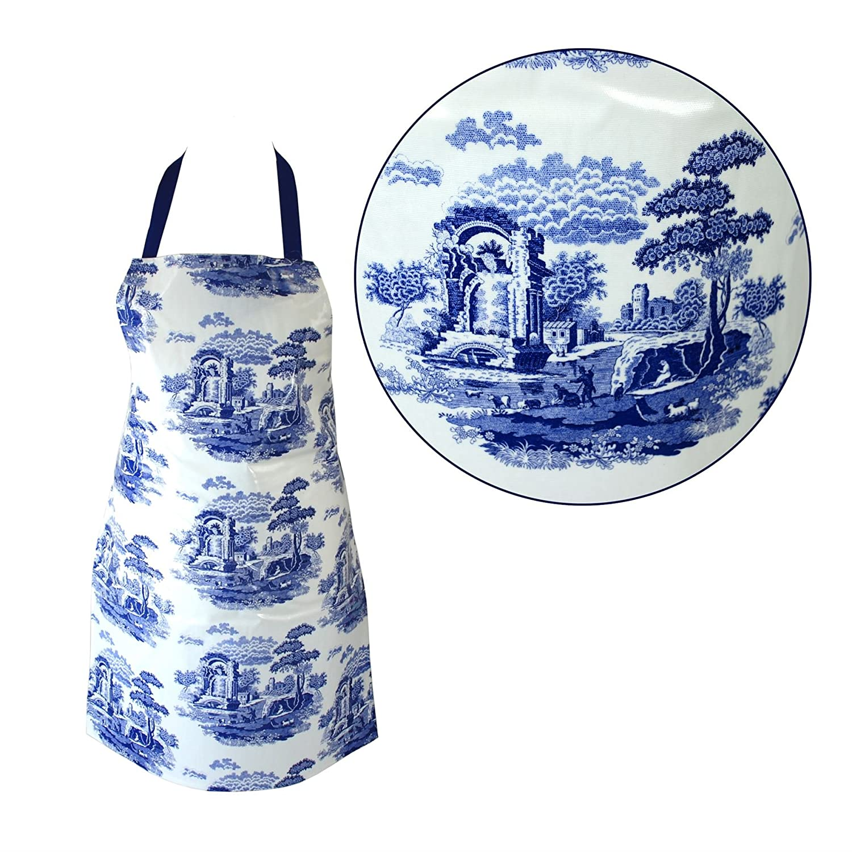 Spode® Original Blue Italian Design PVC Apron - ONE SIZE 59cm (w) x 81cm (h) - Wipe Clean Design - Kitchen, Cook, Chef PVC Apron Spode®
