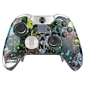 eXtremeRate Funda Delantera Carcasa Protectora de la Placa Frontal Cubierta Antideslizante con Dos Anillos de Acento para el Mando del Xbox One Elite ...