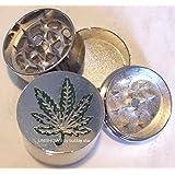HERB GRINDER Large Pot Weed Leaf Metal Magnetic Pollen Screen 3 Piece 40mm NICE!