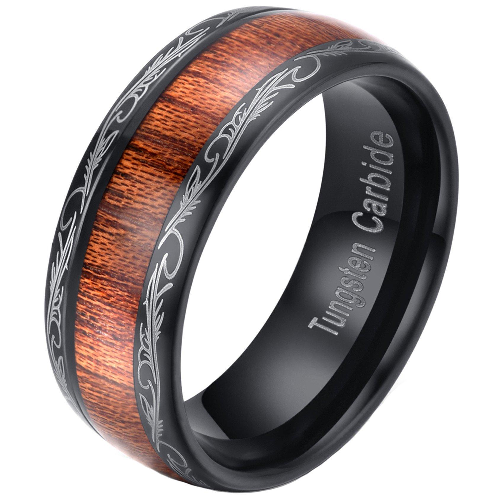 Mens Womens 8mm Black Tungsten Carbide Ring Wedding Engagement Band Grain Lasered Edges KOA Wood Inlay Comfort Fit (13)