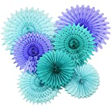 Mermaid Baby Shower Decorations Aqua Blue Teal Purple Tissue Paper Fan/Summer Party/Beach Party/Tropical Party/Under the Sea Party Tissue Paper Pom Pom Flower /Mermaid Party Birthday Decorations