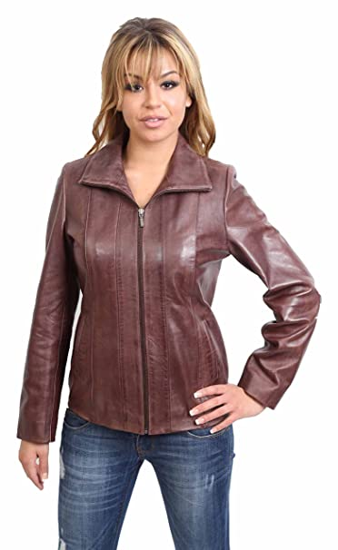 Womens Classic Zip Up Real Leather Jacket Ladies Semi Fitted Lambskin Coat Blue