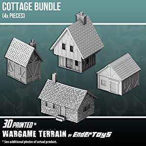 EnderToys Cottage Bundle, Terrain Scenery for Tabletop 28mm Miniatures Wargame, 3D Printed and Paintable