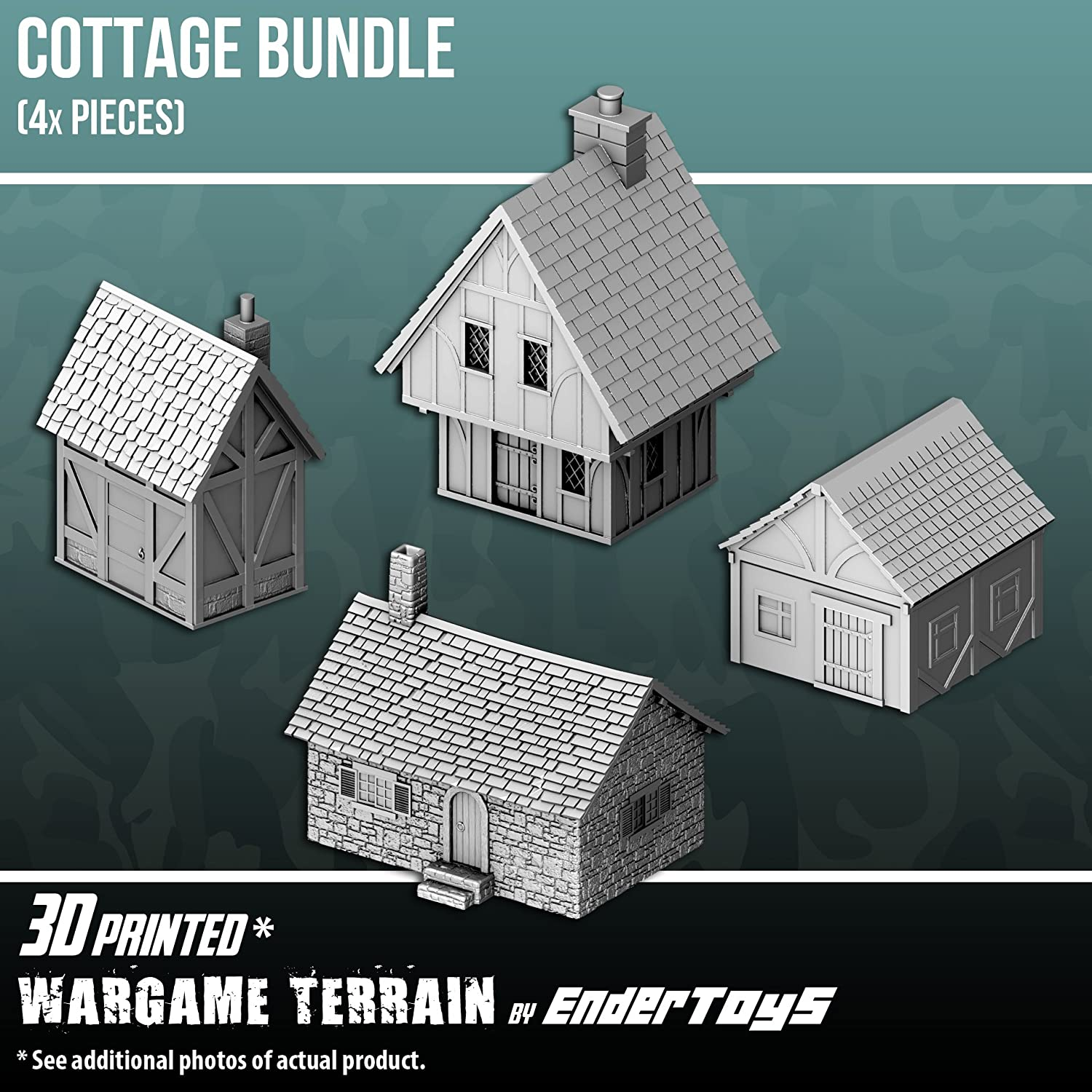picture about Free 3d Printable Terrain named EnderToys Cottage Package, Terrain Surroundings for Tabletop 28mm Miniatures Wargame, 3D Posted and Paintable