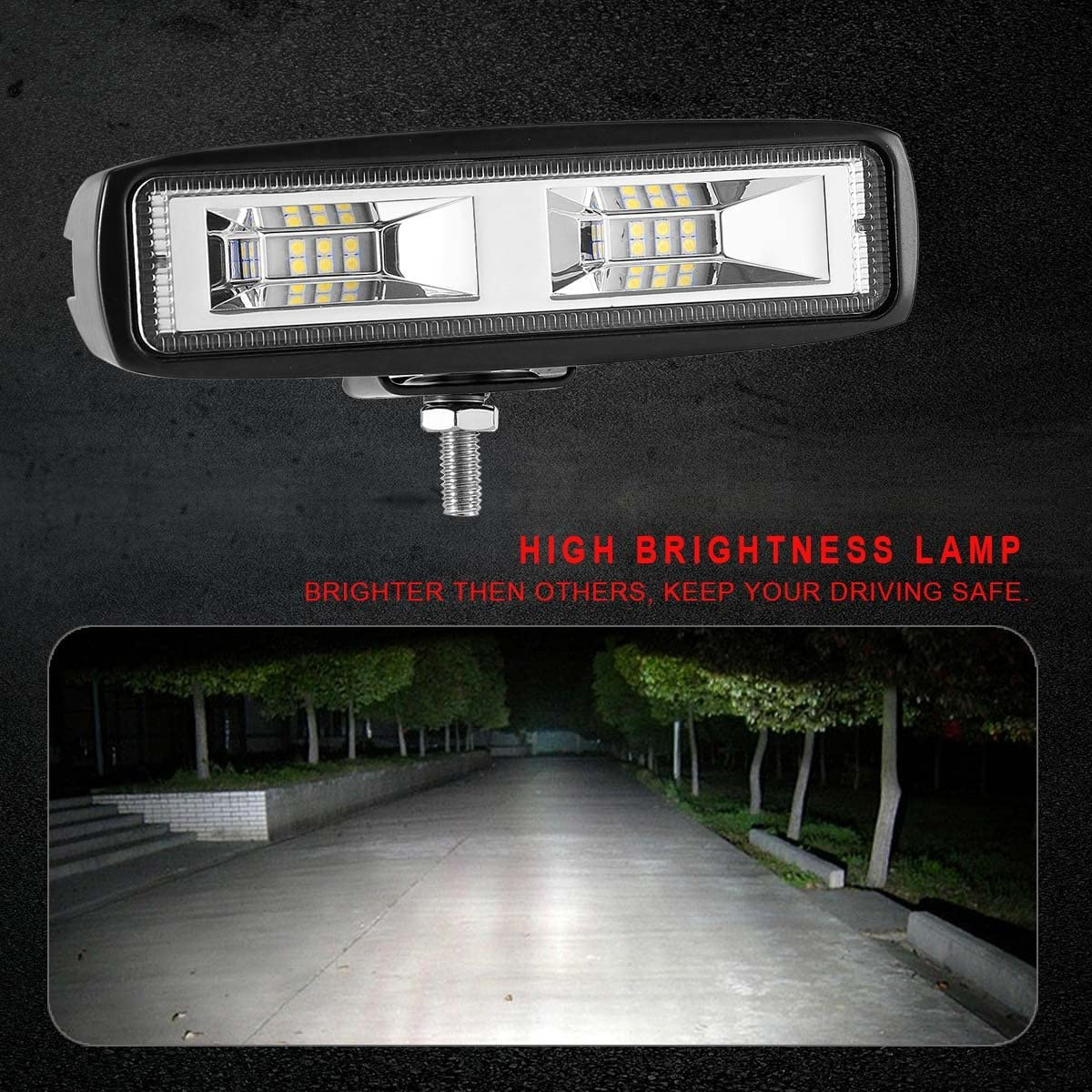 KAWELL 2 Pack 20W Flood Cree Led Light Bar Flush Mount Led Pods Off Road Backup Driving Lights Fog Lamp for Jeep ATV 4X4s SUV Truck Boat
