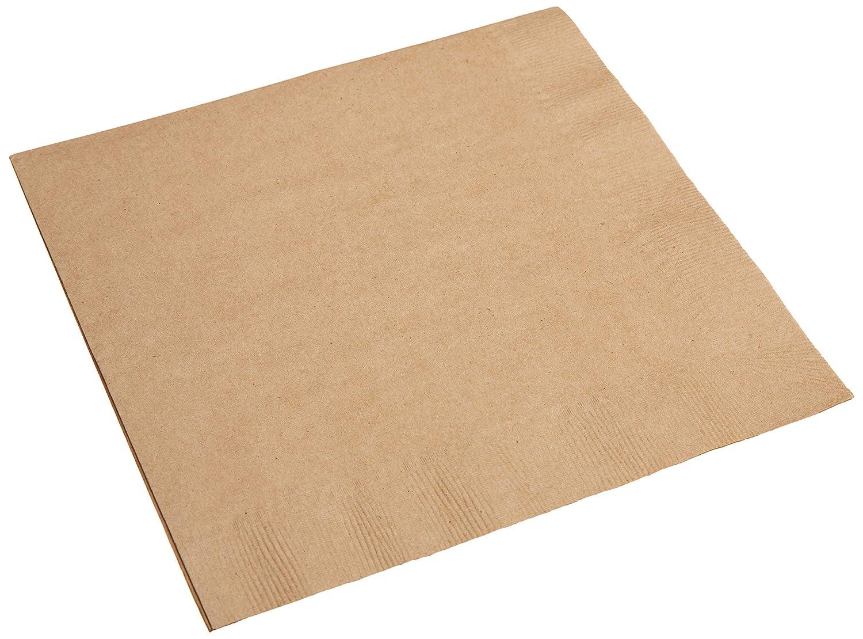 "AmazonBasics 100% Recycled, 2-Ply Kraft Dinner Napkins, 8.5"" x 8.5"" folded, 1,200 ct"