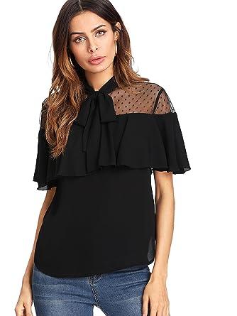 1a8e545763f Verdusa Women's Tie Neck Polka Dot Mesh Shoulder Short Sleeve Blouse Top  Black L