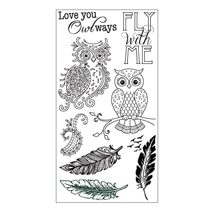 amazon com sizzix 661141 owl feathers stamps by jen long clear