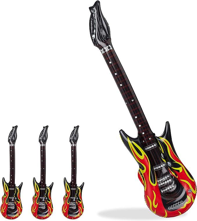 Aufblasbare Luftgitarre Flammen Muster Rot Schwarz Karneval Fasching 100 cm
