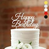 HappyPlywood Happy Birthday Cake Topper Decorations Supplies Baby Birthdays Gold Silver Party Decor Toppers