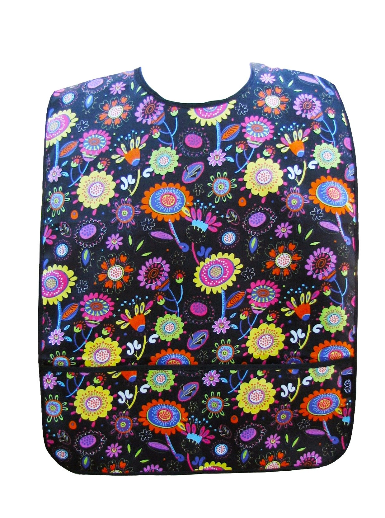 Adult Clothing Protector with Front Pockets (Bright Poppies)