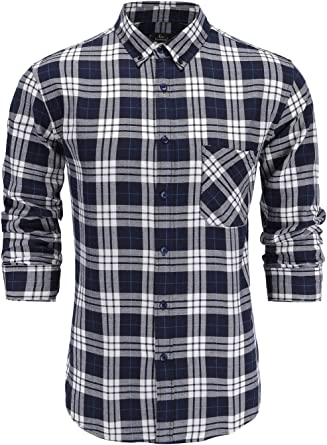 Sebaby Men Business Plaid Relaxed-Fit Long-Sleeve Slim Fit Dress Shirts