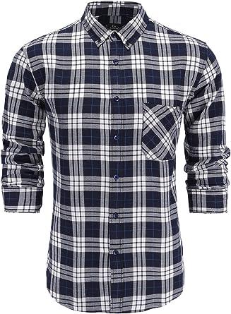 KateSui Mens Slim Fit Long Sleeve 100/% Cotton Plaid Button Down Dress Shirt