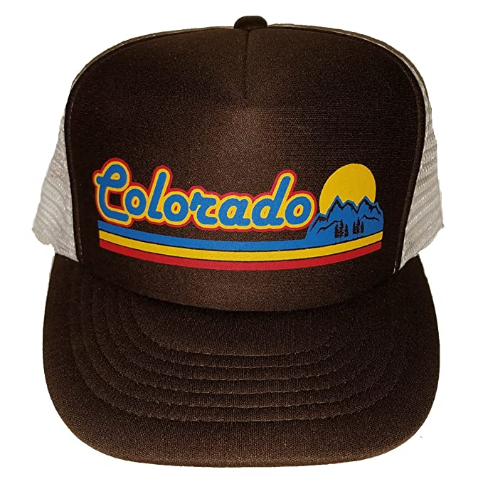 d93dea2c309b3 Image Unavailable. Image not available for. Color  Brown Colorado Sunset  Mesh Trucker Hat Cap Snapback