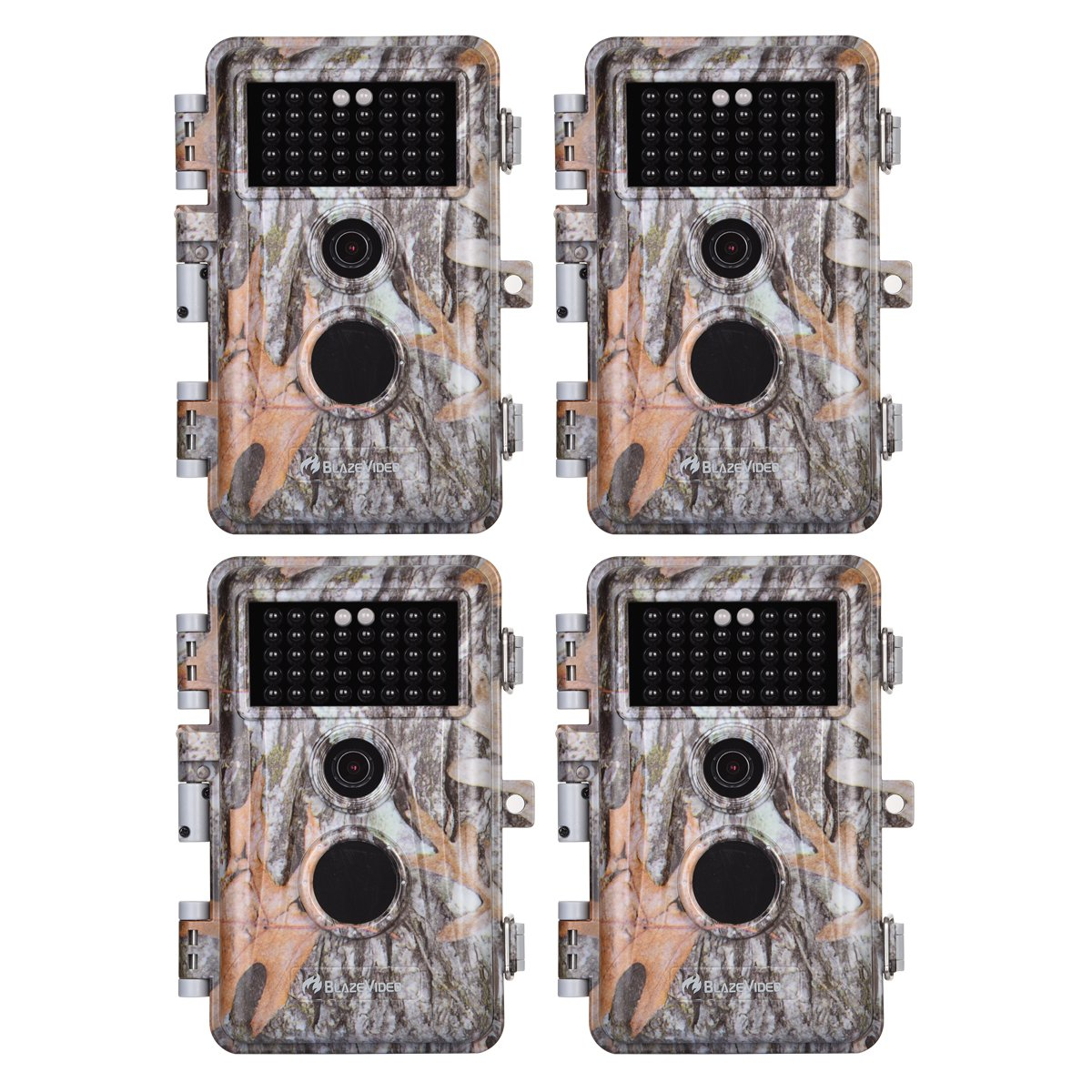 4-Pack Game Trail Deer Cameras 16MP 1080P for Hunting Wildlife No Glow Infrared Night Vision Time Lapse Motion Activated IP66 Waterproof Password Protected, Photo Video Model, 2.4 LCD, Time Stamp