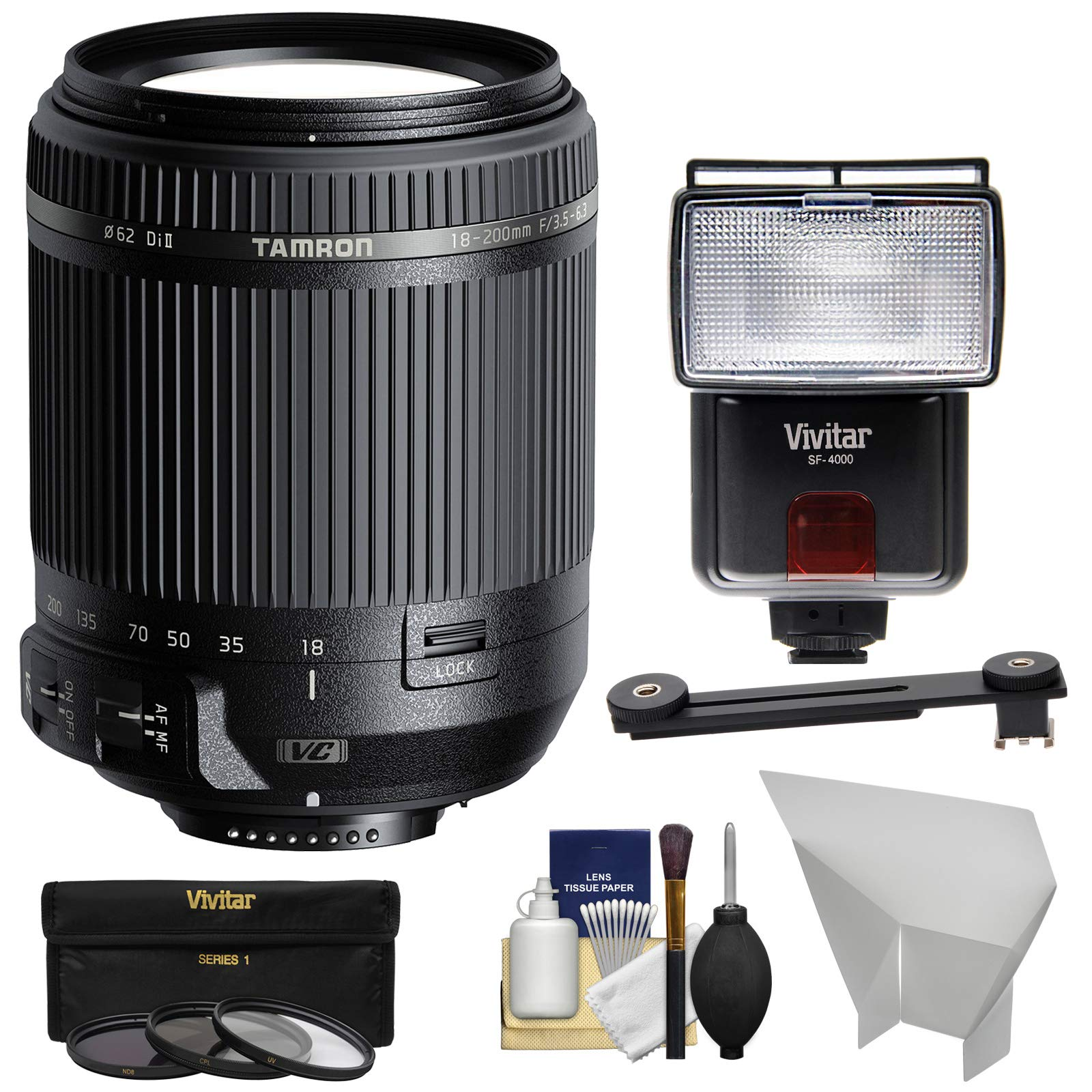 Tamron 18-200mm f/3.5-6.3 Di II VC Zoom Lens with 3 Filters + Flash & LED Video Light + Diffuser + Reflector + Kit for Nikon DSLR Cameras