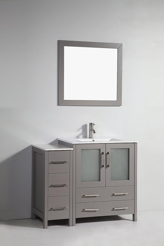 42 inch white bathroom vanity - Vanity Art 42 Inch Single Sink Bathroom Vanity Set With Ceramic Top With Free Mirror Va3030 42 E Amazon Com