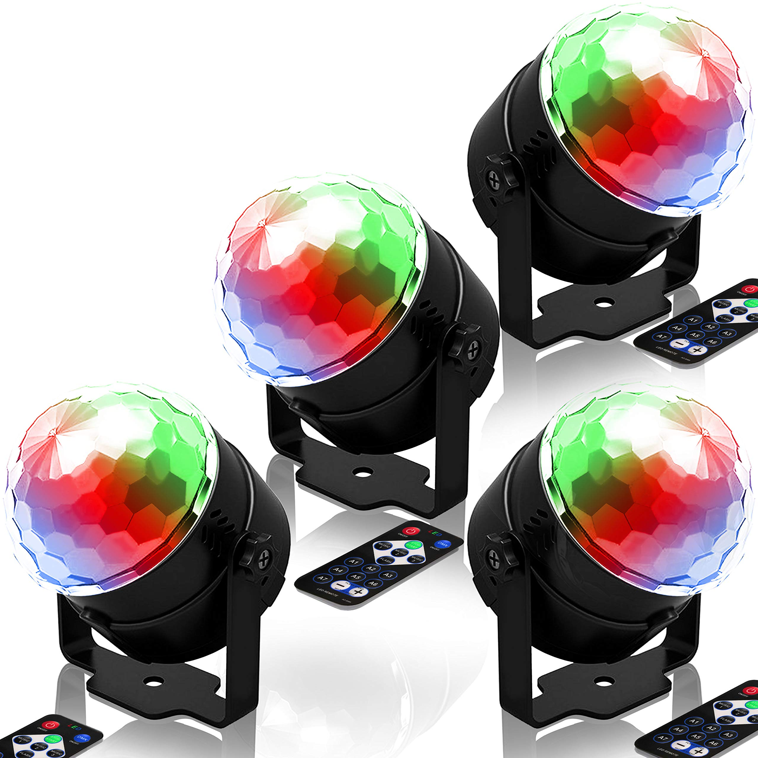 Party Lights Disco Ball Strobe Light [2019 New 6 Light Bulbs]Disco Lights 20 Colors Sound Activated Stage Light with Remote Control for Bar Club Party DJ Karaoke Wedding Show and Outdoor (4 Packs)