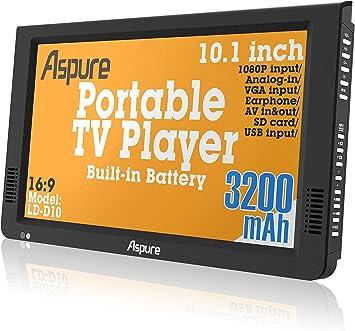 10 Inch portátil pequeño LED TV Digital DVB-T para Coche, Camping, al Aire Libre o Cocina. Integrado Recargable Televisión/Monitor …: Amazon.es: Electrónica