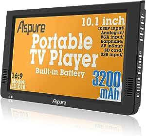 10 Inch portátil pequeño LED TV Digital DVB-T para Coche, Camping, al Aire Libre o Cocina. Integrado Recargable Televisión/Monitor …