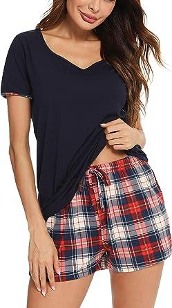 Vlazom Pijamas para Mujer Verano 95% Algodón de Pijama Corto Mujer Suave y Transpirable, Ropa de Dormir de Camiseta con Pantalones Cortas S-XXL