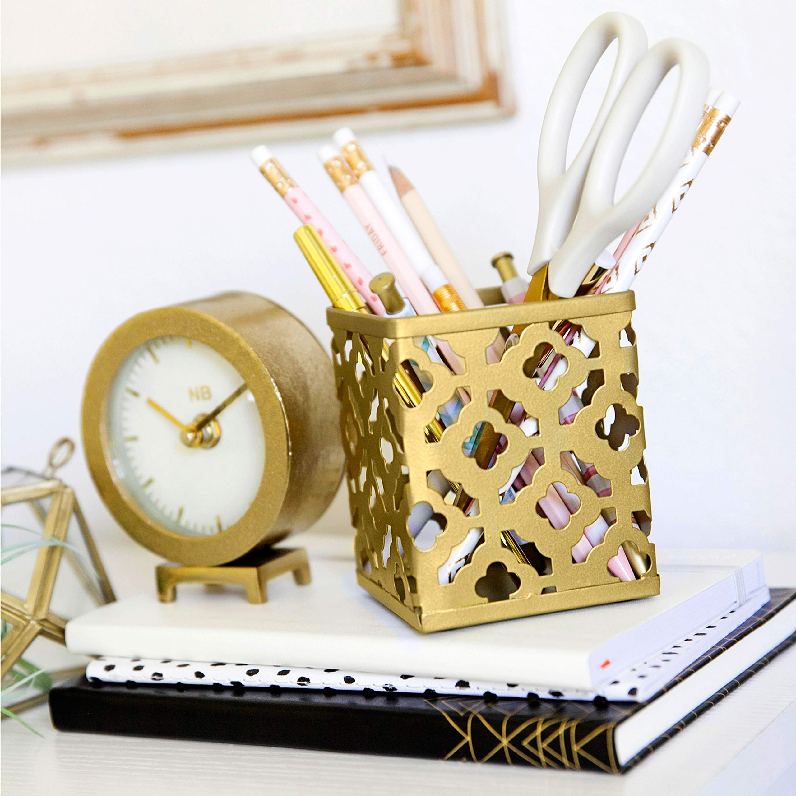 Blu Monaco Gold Desk Organizer for Women - 3 Piece Desk Accessories Set - Pen Cup, Magazine-File-Mail Holder, and Accessories Tray - Antique Gold Brass Finish Office Supplies Stationery Decor by Blu Monaco (Image #5)