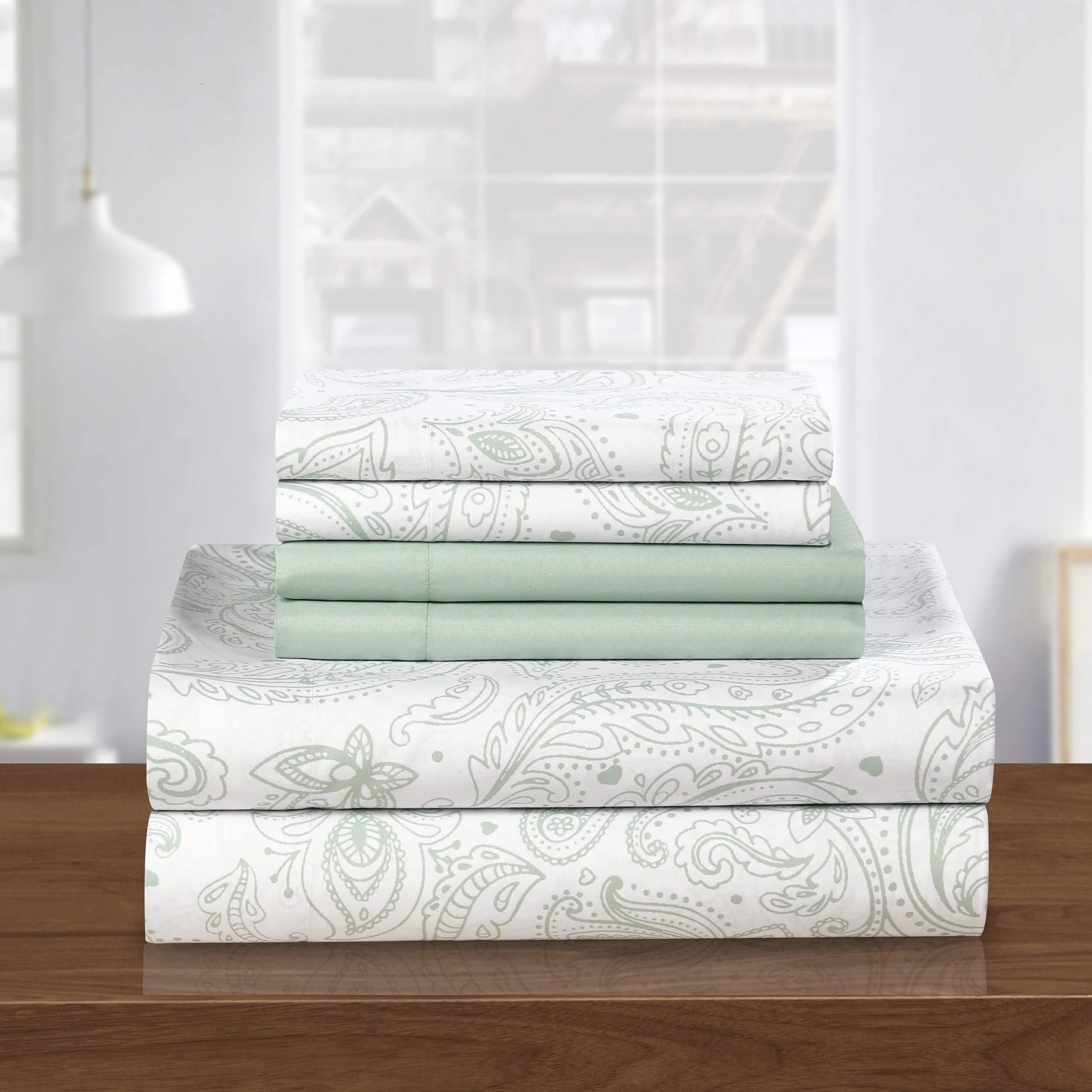 PH 6 Piece King Green Printed Sheet Set, Country & Vintage Style, Microfiber Material, Paisley Pattern Deep Pockets, Fully Elasticized Fitted, Machine Wash - Floral Print