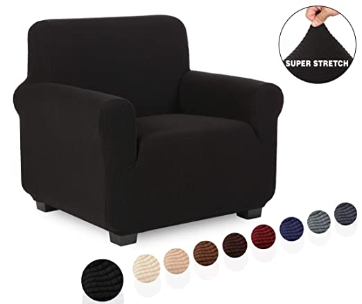 TIANSHU Funda de sillón,Material Jacquard poliéster y Elastano Fundas de sofá Suaves Resistentes(Funda de sillón,Negro)