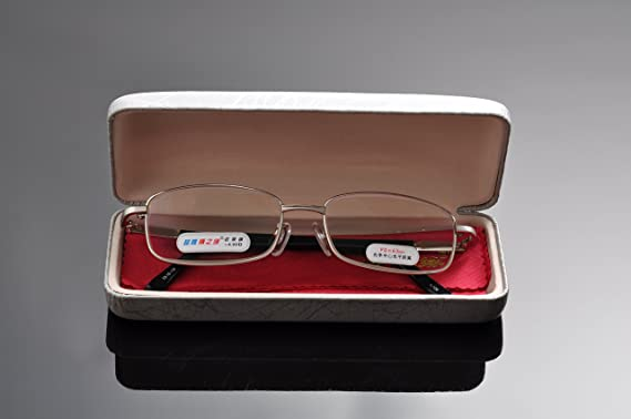 d3efd7e1c5f2 Amazon.com  De Ding Metal Frame Glass Lens Reading Glasses with Case (silver